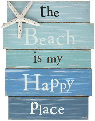 (Grasslands Road Wall Starfish GR Beach is My Happy Place Plaque, Medium, White, Blue)
