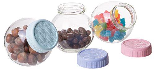 Kitchenware Essentials Glass Food Canister, Lattice Jars with Multicolored Lids, Set of 3, (Lattice Plastic Balls)