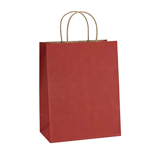 Gift Bags 8x4.25x10.5 Inches 100Pcs BagDream Paper Bags Shopping Bags Kraft Bags Retail Bags, Red Stripes Paper Bags with Handles Bulk, 100% Recyclable Paper Gift Bags