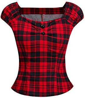 Zilcremo Las Vintage Algodon Polka Dot 50S Camisetas Tops Retro De Blusa Tee Mujer