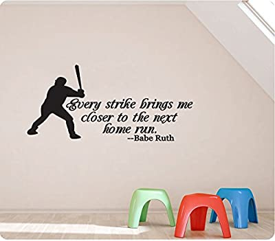 """42"""" Every Strike Brings Me Closer To The Next Home Run Baseball Batter Babe Ruth Sports Wall Decal Sticker Art Mural Home Décor Quote"""