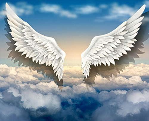 Hanhantang 3Dステレオ天使の翼壁画写真の背景壁紙ジムデザートティーショップ壁画雲の翼-150X120Cm
