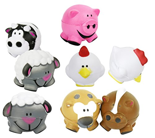 Black Duck Brand Set of 8 Assorted Farm Themed Mini Stress Balls Squeeze Foam for Anxiety Relief, Relaxation, Party Favor Toy, or Gifts! (8)
