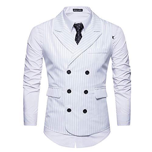 Cloudstyle Mens Pinstripe Vest Slim Fit Formal Dress Vest Double-Breasted Business Vest White