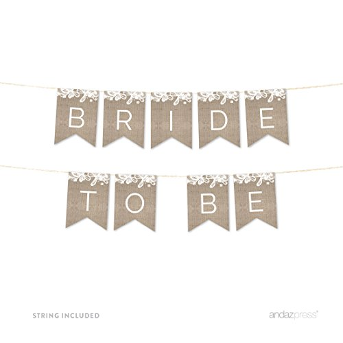 Andaz Press Burlap Lace Wedding Collection, Hanging Paper Pennant Party Banner with String, Bride to Be, 5-Feet, 1 Set, Not Burlap Fabric, Includes (Hanging Lace)