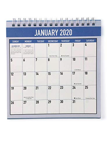 Desk Monthly Calendar for Year 2020, at a Glance Planner Calendars, Office Calendar Table Pad (Blue)