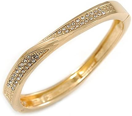 Avalaya Gold Plated Clear Crystal Twist Hinged Bangle Bracelet 19cm L
