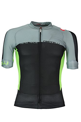 Castelli Aero Race 5.1 Full Zip Jersey – Men's Black/Agave/Sprint Green, M