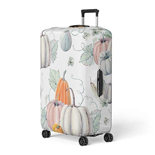 Pinbeam Luggage Cover Pattern Watercolor Pumpkins It Is Thanksgiving Halloween Recipe Travel Suitcase Cover Protector Baggage Case Fits 22-24 -