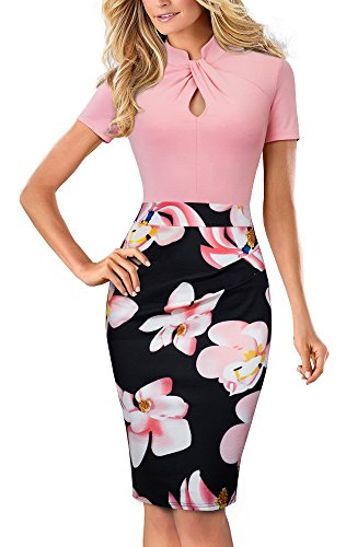 HOMEYEE Women's Short Sleeve Business Church Dress B430 (8, Light Pink)