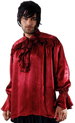 [Medieval Poet's Pirate Roche Brasiliano Shirt Costume [Red] (Small/Medium)] (Costume Brasiliano)