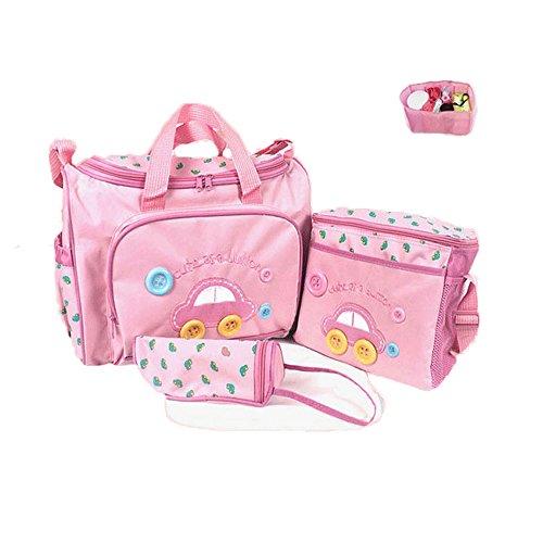 Sealive Multi-Functional Fashion Mummy Package 4 pcs Oxford Cloth Mummy Bag Waterproof Baby Diaper Nappy Bag Mummy Changing Set Tote Handbag(Pink, Random ()