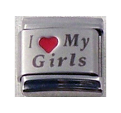 Stylysh Charms Girls I Love My Girls RH Laser Italian 9mm Link FA008