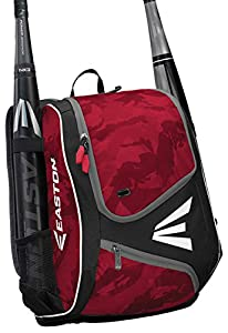 EASTON E110YBP Youth Bat & Equipment Backpack Bag | Baseball Softball | 2019 | Red | 2 Bat Sleeves | Smart Gear Storage | Valuables Pocket | Rubberized Zipper Pulls | Fence Hook