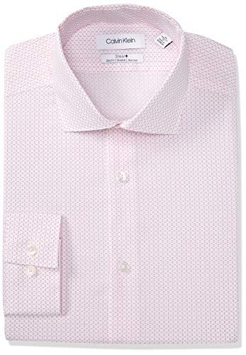 Calvin Klein Men's Dress Shirt Slim Fit Non Iron Stretch Print, Candy, 16.5