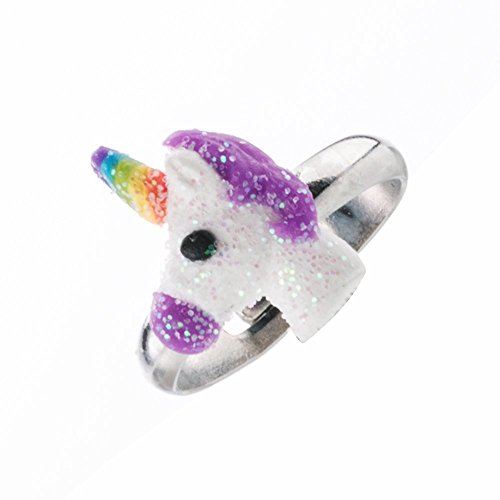 minihope Adjustable Rings Set for Little Girls - Colorful Cute Unicorn Rings for Kids Made of Polymer Clay