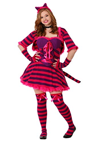 Adult Plus Size Wonderland Cat Costume Sexy Wonderland Cat Costume for Women 2X Pink]()