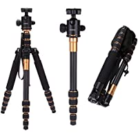 Andoer Q666C 59inch/ 150cm Protable Carbon Fiber Tripod with ball head and QR Plate for Canon Sony Nikon Cameras and Video Cameras