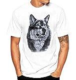 MISYAA Wild Wolf White T Shirts for Men, Art Tee Shirt Short Sleeve Sweatshirt Muscle Tank Top Friends Gifts Mens Tops