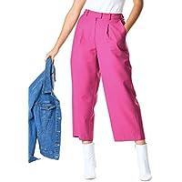 eShakti Women's Vibrant Twill Suiting Crop Pants