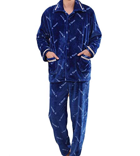 Flannel Thickening Homewear Men Long Home Simple Loungewear Service Pajamas Warm Young Comfortable Autumn Sleepwear Blue And Winter IP86wqM1Tx