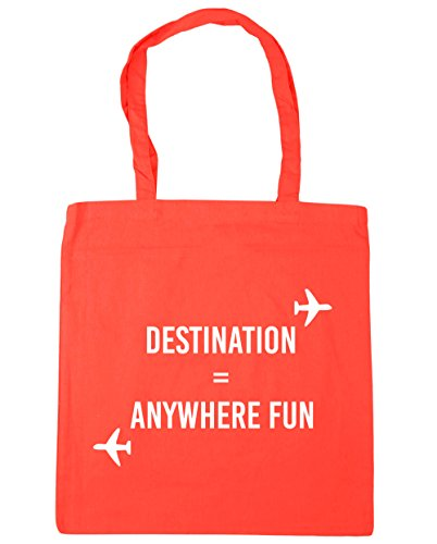 HippoWarehouse destino cualquier lugar diversión bolsa de la compra bolsa de playa 42cm x38cm, 10litros Coral