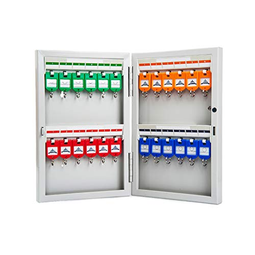 720 Steel Lock - QSJY File Cabinets Key Cabinet, 24 Digits Wall-Mounted Combination Key Safety Organizer Lock Box (Stainless Steel) 31.720.55.2CM