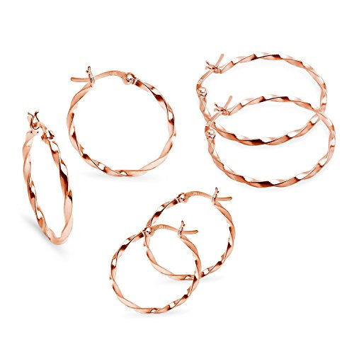 Medium Hoop Earrings 5mm (Twisted Rose Gold Flash Sterling Silver 5mm 30mm 35mm Set Small Medium Hoop Earrings 1.5mm Set)