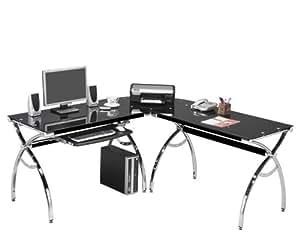 Amazon Com Corner Computer Desk Black Glass L Shaped W