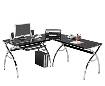 Amazon.com: Corner Computer Desk Black Glass L-shaped W/ Keyboard ...
