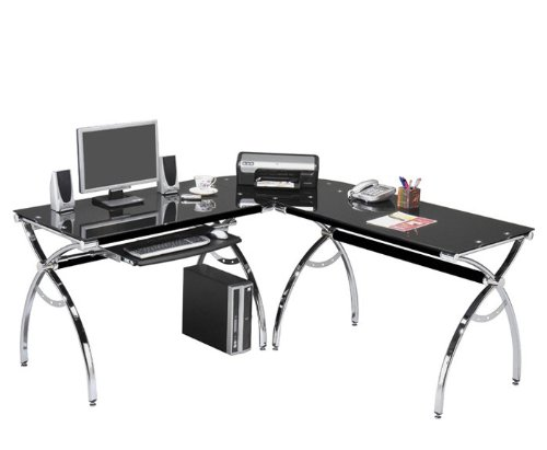 Corner Computer Desk Black Glass L-shaped W/ Keyboard Tray and Workspace Contemporary Modern Niche Home Office Space L Shaped Nook by Techni Mobili