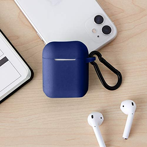 Amazon Basics Premium AirPods Case - Compatible with Apple AirPods 1 & 2, Navy