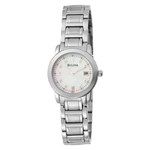 Bulova Women's Diamond Accented Dial Bracelet Mother of Pearl Dial Watch 96P107