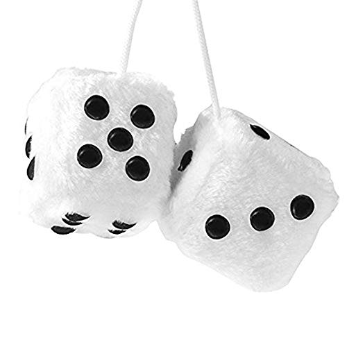 YGMONER Pair of Retro Square Mirror Hanging Couple Fuzzy Plush Dice with Dots for Car Interior Ornament Decoration - White Fuzzy Dice
