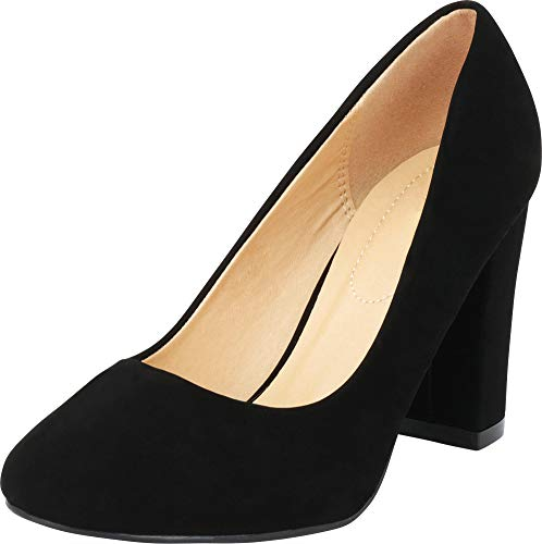 Chunky Women's Select Cambridge Pump Round Classic Heel Toe Nbpu Black Block 5w7qqX1r