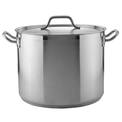 Tiger Chef Heavy-Duty Stainless Steel Stock Pot with Cover and Aluminum Steamer Basket (24 Quart) by Tiger Chef
