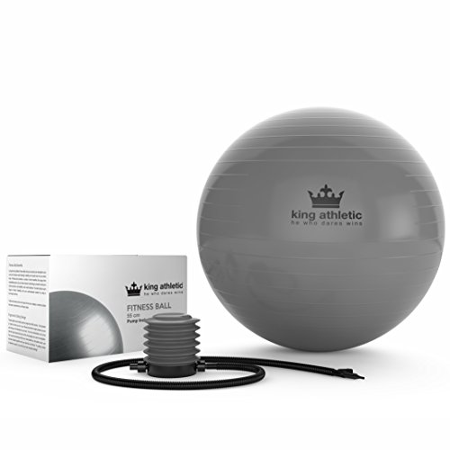 Yoga Ball :: Stability Balance Swiss Exercise Balls Made With Anti Burst Rubber :: Fitness Ball Chair Comes in 65 cm & 55cm Size :: Includes 2 Free Instructional E Books