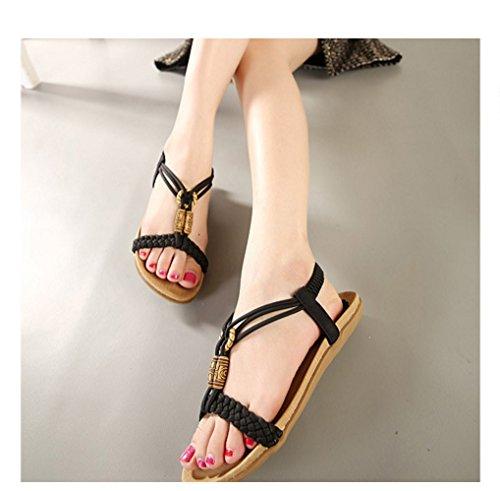 Bohemia De Semana Planos Nuevas Zapatos Negro Tamaño Gran Cuentas La Confort Con Planas Mujer Verano Xiaoqi Sandalias nY44BqdR