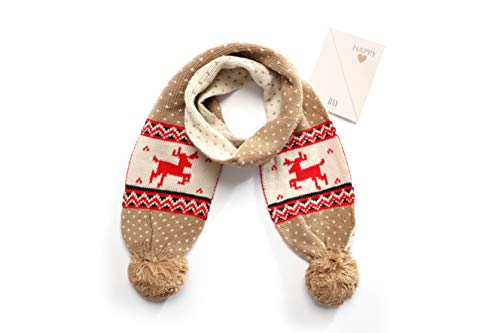 The Twins Dream Fashion Scarf for Christmas Boys Scarf Girls Neck warmer Gift Snowman custumes, Deer Brown, One Size -