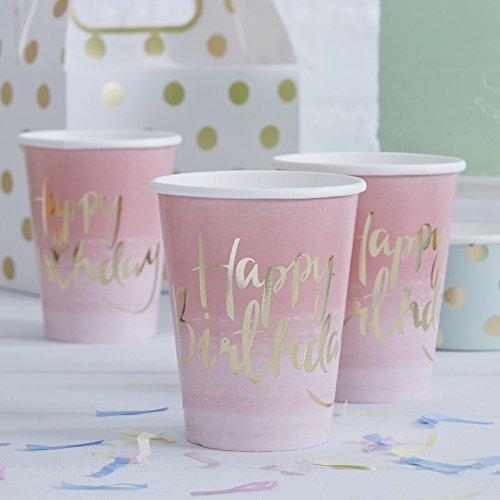 Paper Cups Girls Birthday Party Sweet 16 Baby Shower 1st Birthday 9 oz. Pk 8 - Happy Birthday Cups