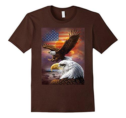 July Eagle Flag T-shirt (Mens USA Flag Bald Eagle T-shirt American Flag 4th Of July shirt 2XL Brown)