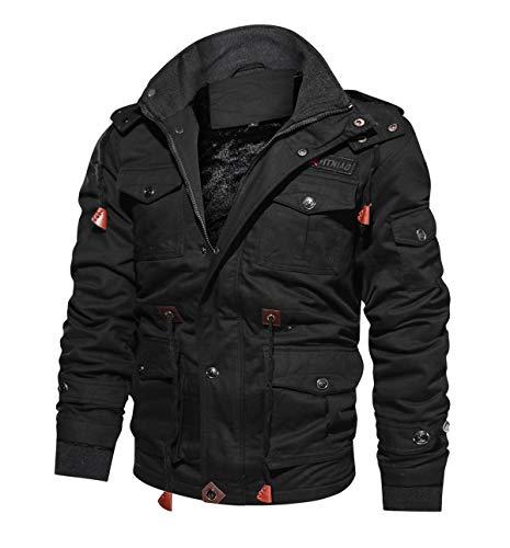 CRYSULLY Men's Slim Fit Fall Casual Winter Coats Cotton Ripstop Enclosure Army Jacket Black/US L/tag4XL