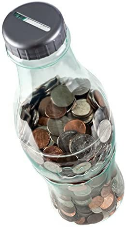 PrimeHomeProducts 2 Pack Bundle Coca-Cola Coke Bottle Bank for Saving and Storing Coins 1 Clear and 1 Red 12 Inch Coin Bank Bundle Includes