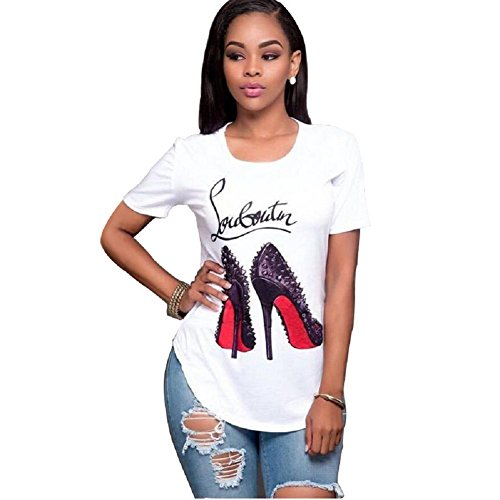 Topways Smummer Women's Short Sleeve Round Neck Graphic Print T-Shirt Casual Blouse, High Heels FBA (Large) White