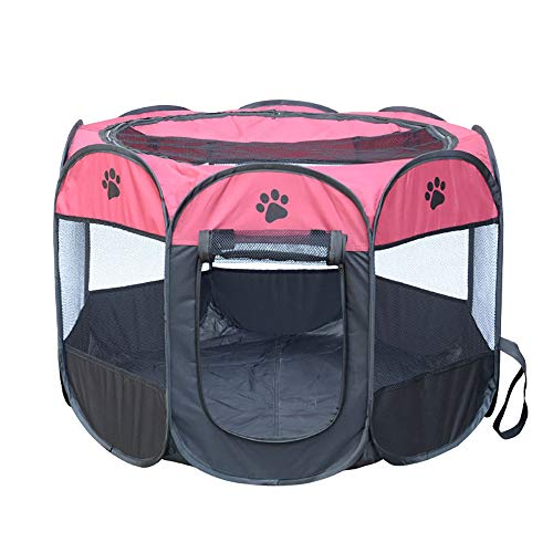Babyfond Portable Pet House, Foldable Octagonal Pet Cage Fence Oxford Cloth Waterproof Maternity Resistant Kennel Tent for Puppy Cat (Pink) ()