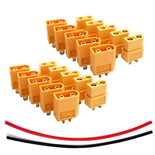 (JFtech XT60 Connectors Male & Female Plug RC Battery Connector with Heat Shink for RC Airplane Quadcopter Lipo Battery ESC (pack of 10 pairs))