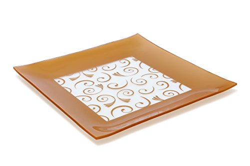Square Tray Classic (GAC Large 13 Inch Tempered Glass Tray Square Glass Platter Break and Chip Resistant – Oven/Microwave Safe – Dishwasher Safe – Decorative Paisley Pattern Plate, Glass Serving Tray)