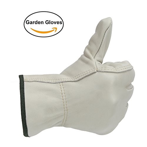 [OZERO Work Gloves, Leather Working Glove with Elastic Wrist - Soft & Flexable for Driving/Repairing/Home/Gardening/Infrastructure/Construction - Perfect Fit for Men & Women - White/1 pair] (Best College Halloween Outfits)