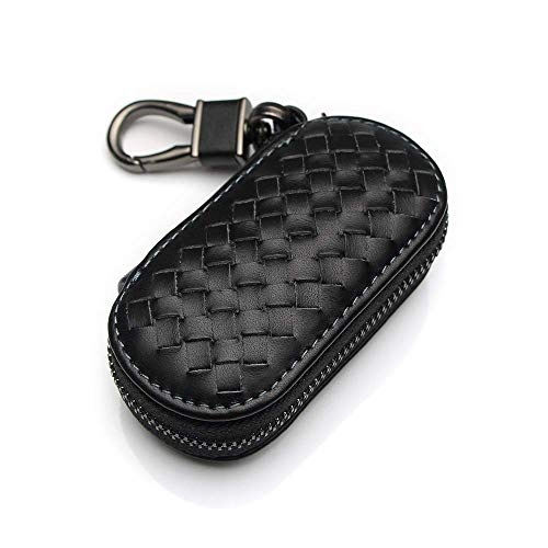 VSLIH Genuine Leather car Smart Key case,Universal Key Bag Zipper Protective Cover Wallet fob, Suitable for All Kinds of car Key Bags (Black Key case) ()