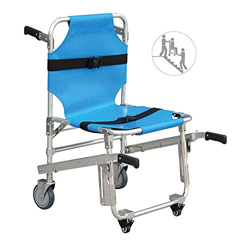 ZJDU Stair Chair, EMS Emergency 4 Wheels Ambulance Firefighter Evacuation Medical Transport Chair with Patient Restraint Straps, 350 Lbs Capacity, Blue 90X51x90cm